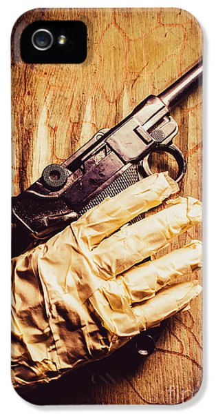 Undead Mummy  Holding Handgun Against Wooden Wall IPhone 5 Case by Jorgo Photography - Wall Art Gallery