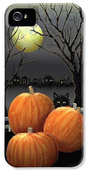 Halloween iPhone 5 Cases - Under The Full Moon iPhone 5 Case by Arline Wagner