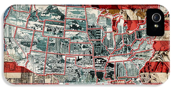 United States Drawing Collage Map 6 IPhone 5 Case