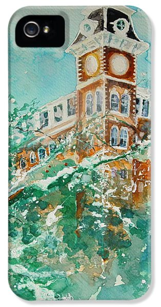 University Of Arkansas iPhone 5 Case - Ice On Old Main by Robin Miller-Bookhout