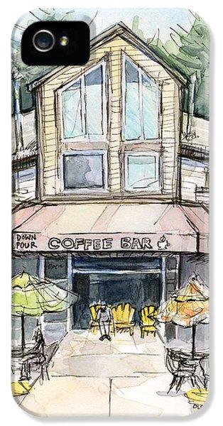 Coffee Shop Watercolor Sketch IPhone 5 Case