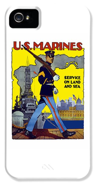 U.s. Marines - Service On Land And Sea IPhone 5 Case by War Is Hell Store