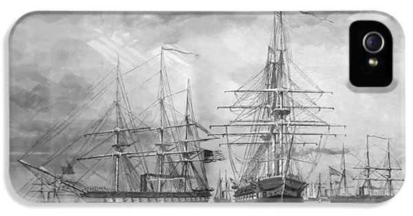 U.s. Naval Fleet During The Civil War IPhone 5 Case by War Is Hell Store