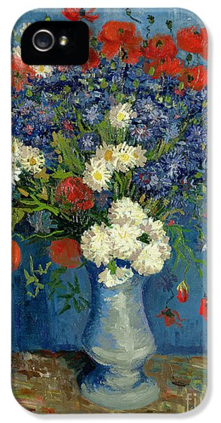Vase With Cornflowers And Poppies IPhone 5 Case by Vincent Van Gogh