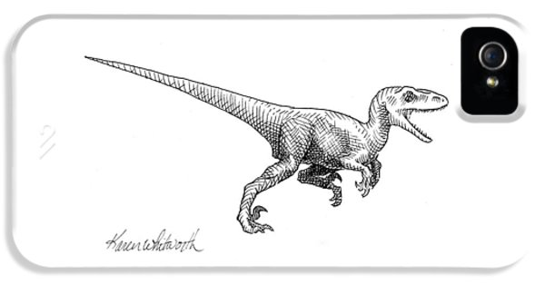 Velociraptor - Dinosaur Black And White Ink Drawing IPhone 5 / 5s Case by Karen Whitworth