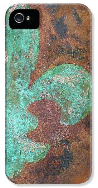 Copper iPhone 5 Cases - Verdigris Copper Iron iPhone 5 Case by Maria Boudreaux