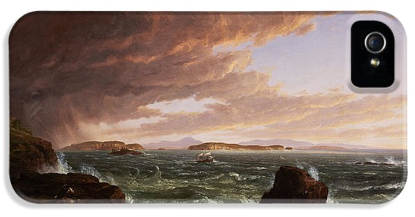 Environmental iPhone 5 Cases - View across Frenchmans Bay from Mt. Desert Island after a squall iPhone 5 Case by Thomas Cole