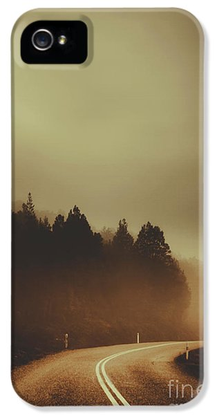 View Of Abandoned Country Road In Foggy Forest IPhone 5 Case