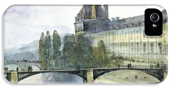 Louvre iPhone 5 Case - View Of The Pavillon De Flore Of The Louvre by Francois-Marius Granet