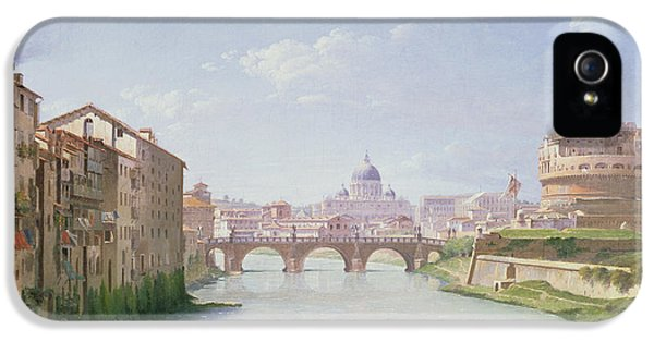 View Of The Ponte And Castel Sant'angelo In Rome IPhone 5 Case by Christoffer-Wilhelm Eckersberg