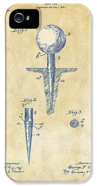 Blueprint iPhone 5 Cases - Vintage 1899 Golf Tee Patent Artwork iPhone 5 Case by Nikki Marie Smith