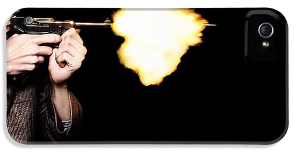 Vintage Gangster Man Shooting Gun On Black IPhone 5 Case by Jorgo Photography - Wall Art Gallery