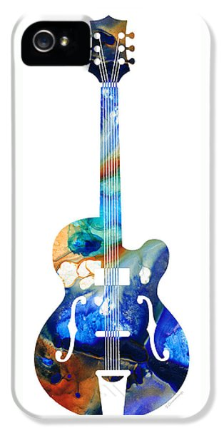 Music iPhone 5 Case - Vintage Guitar - Colorful Abstract Musical Instrument by Sharon Cummings
