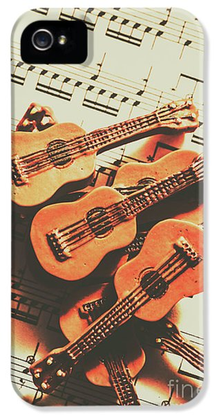 Vintage Guitars On Music Sheet IPhone 5 Case by Jorgo Photography - Wall Art Gallery