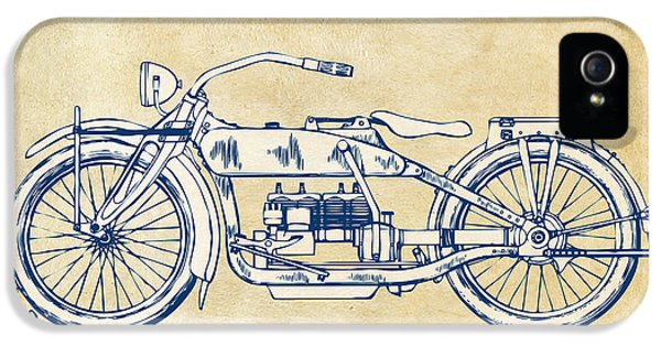 Vintage Harley-davidson Motorcycle 1919 Patent Artwork IPhone 5 Case by Nikki Smith