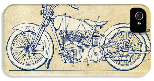 Vintage Harley-davidson Motorcycle 1928 Patent Artwork IPhone 5 Case by Nikki Smith