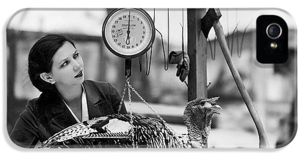 Vintage Holiday Card   Woman Weighing A Turkey Ahead Of The Holidays IPhone 5 Case by American School
