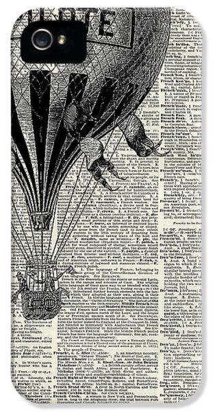 Vintage Hot Air Balloon Illustration,antique Dictionary Book Page Design IPhone 5 Case