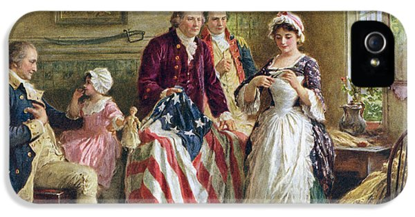 Vintage Illustration Of George Washington Watching Betsy Ross Sew The American Flag IPhone 5 Case by American School