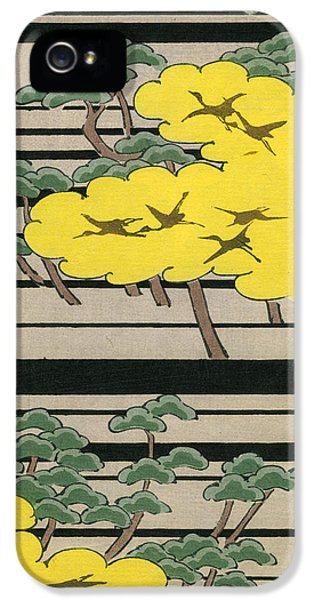 Vintage Japanese Illustration Of An Abstract Forest Landscape With Flying Cranes IPhone 5 Case by Japanese School