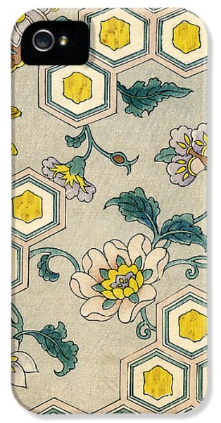 Flowers iPhone 5 Case - Vintage Japanese Illustration Of Blossoms On A Honeycomb Background by Japanese School