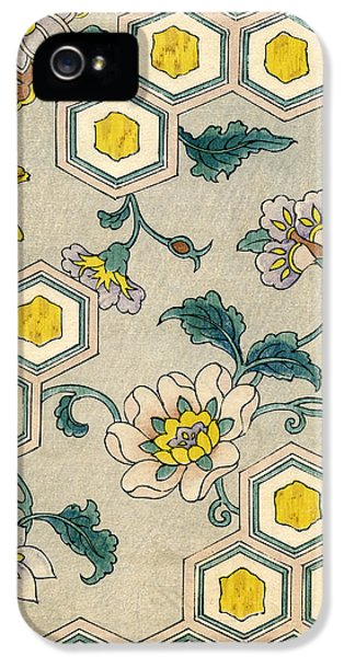 Vintage Japanese Illustration Of Blossoms On A Honeycomb Background IPhone 5 Case by Japanese School