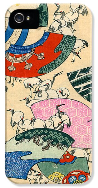 Vintage Japanese Illustration Of Fans And Cranes IPhone 5 Case by Japanese School