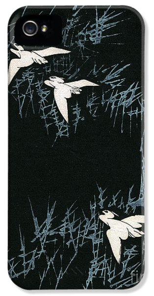 Vintage Japanese Illustration Of Three Cranes Flying In A Night Landscape IPhone 5 Case by Japanese School