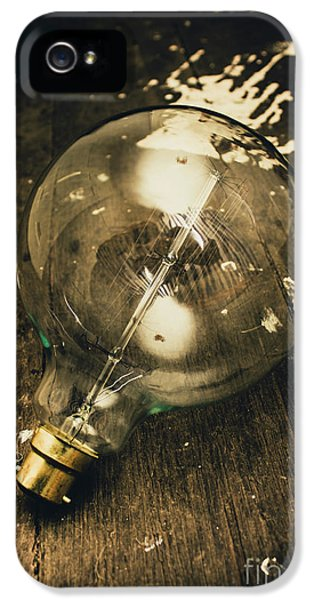 Vintage Light Bulb On Wooden Table IPhone 5 Case by Jorgo Photography - Wall Art Gallery