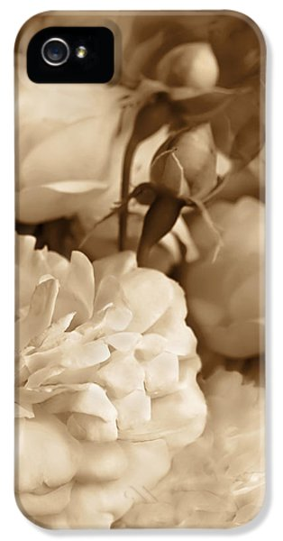 Vintage Roses Bouquet In Sepia IPhone 5 Case by Jennie Marie Schell
