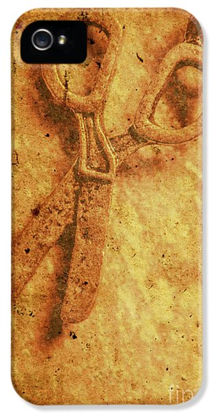 Vintage Scissors On Textured Book Cover Paper IPhone 5 Case by Jorgo Photography - Wall Art Gallery