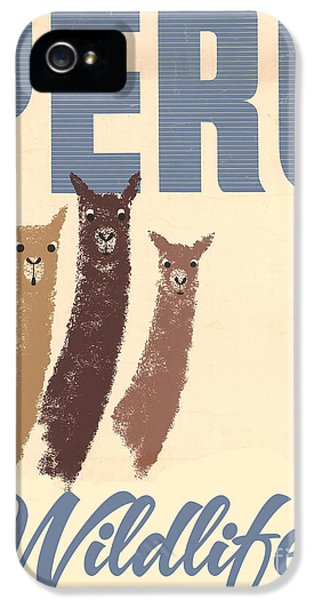 Vintage Wild Life Travel Llamas IPhone 5 Case by Mindy Sommers