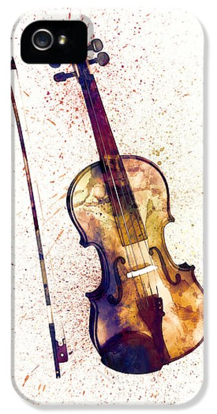 Violin iPhone 5 Case - Violin Abstract Watercolor by Michael Tompsett