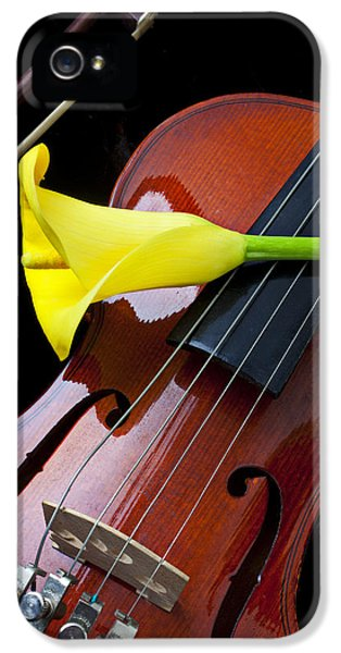 Violin iPhone 5 Case - Violin With Yellow Calla Lily by Garry Gay