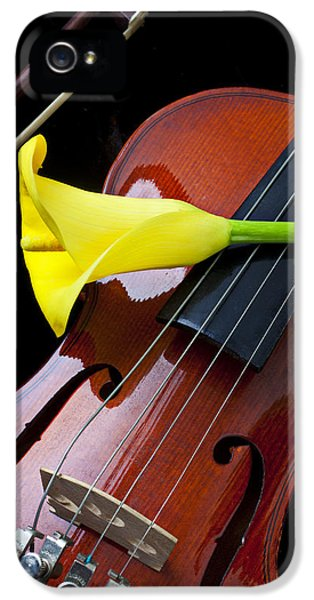 Music iPhone 5 Case - Violin With Yellow Calla Lily by Garry Gay