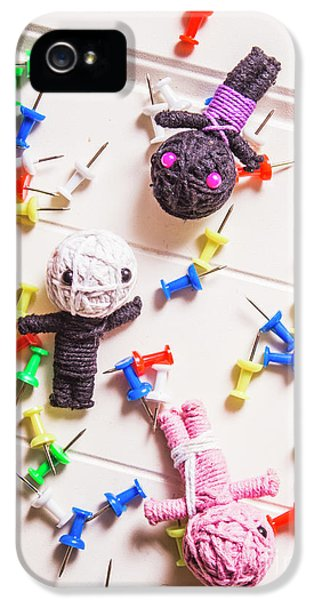Voodoo Dolls Surrounded By Colorful Thumbtacks IPhone 5 Case by Jorgo Photography - Wall Art Gallery
