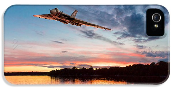 IPhone 5 Case featuring the digital art Vulcan Low Over A Sunset Lake by Gary Eason