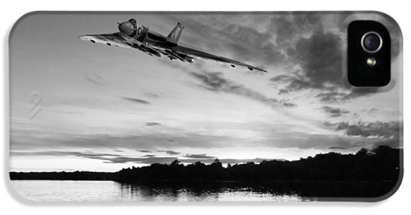 IPhone 5 Case featuring the digital art Vulcan Low Over A Sunset Lake Sunset Lake Bw by Gary Eason