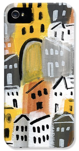 Town iPhone 5 Case - Waiting For Autumn- Expressionist Art by Linda Woods