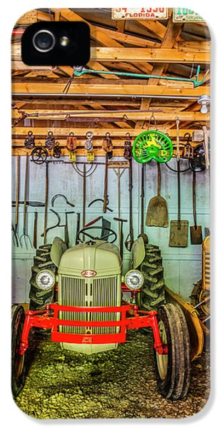 Oliver Tractor iPhone 5 Case - Waiting In The Garage Tools And Tractors by Debra and Dave Vanderlaan