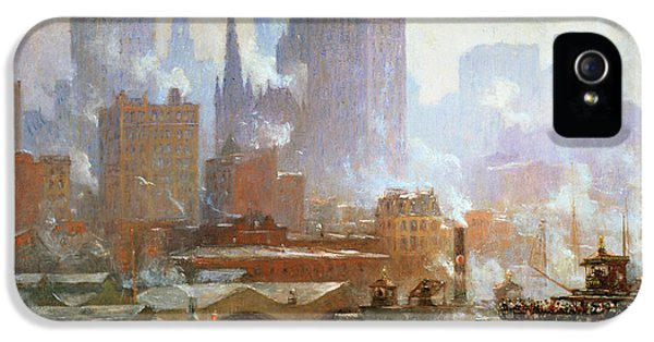 Wall Street Ferry Ship IPhone 5 Case by Colin Campbell Cooper