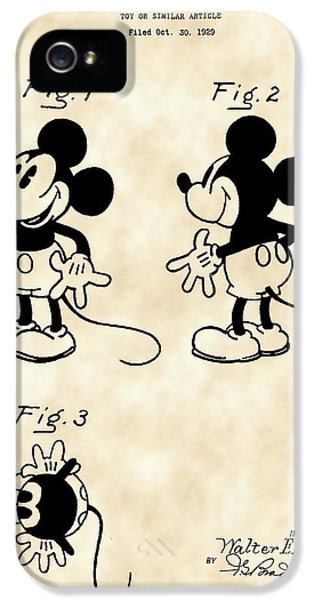 Walt Disney Mickey Mouse Patent 1929 - Vintage IPhone 5 Case by Stephen Younts