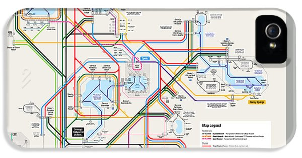Walt Disney World Resort Transportation Map IPhone 5 / 5s Case by Arthur De Wolf