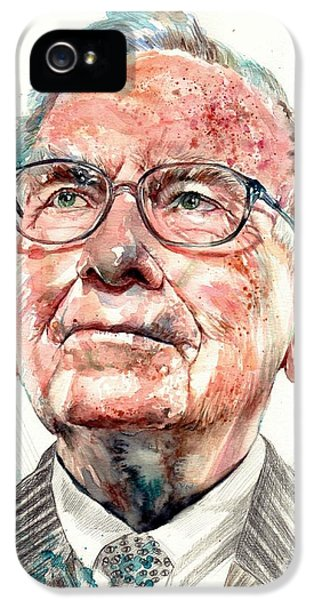 Legends iPhone 5 Case - Warren Buffett Portrait by Suzann's Art