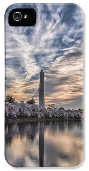 Washington Monument iPhone 5 Case - Washington Blossom Sunrise by Erika Fawcett