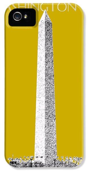 Washington Monument iPhone 5 Case - Washington Dc Skyline Washington Monument - Gold by DB Artist