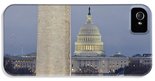 Washington Monument iPhone 5 Case - Washington Monument And United States Capitol Buildings - Washington Dc by Brendan Reals