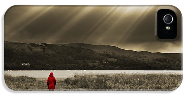 Lake iPhone 5 Cases - Watching In Red iPhone 5 Case by Meirion Matthias