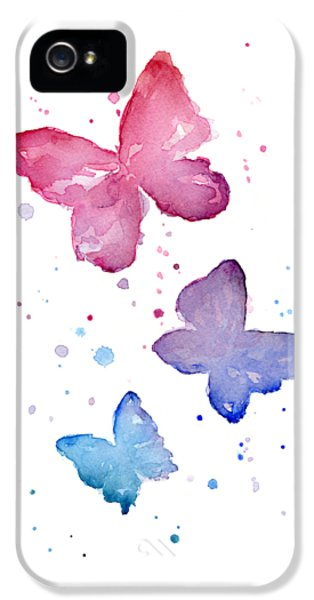 Insect iPhone 5 Case - Watercolor Butterflies by Olga Shvartsur
