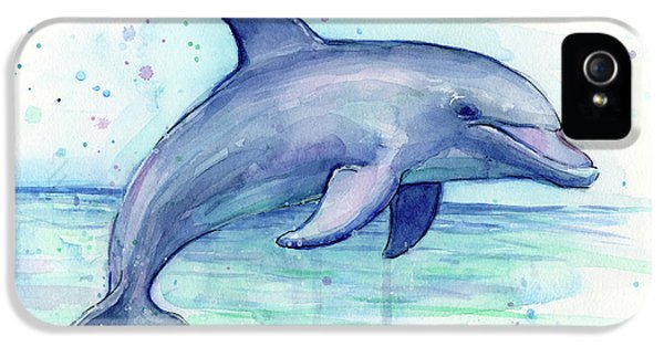 Watercolor Dolphin Painting - Facing Right IPhone 5 / 5s Case by Olga Shvartsur
